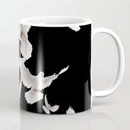 WHITE PEACE DOVES ON BLACK COLOR DESIGN ART Coffee Mug