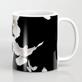 WHITE PEACE DOVES ON BLACK COLOR DESIGN ART Coffee Mug