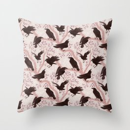Crows pattern Throw Pillow