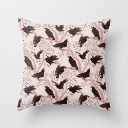 Crows pattern Throw Pillow