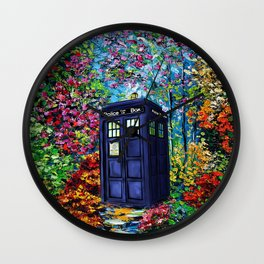 Tardis Flowers Painting Wall Clock