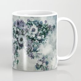 world map floral black and white Coffee Mug