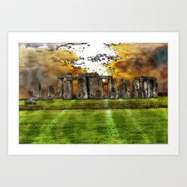 Henge at Sunsleep - Stonehenge Art Print