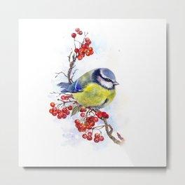 Watercolor Titmouse Great tit winter bird Metal Print