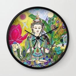 Green Tara in Paradise Wall Clock