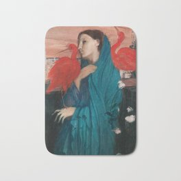 Young Woman with Ibis by Edgar Degas Bath Mat