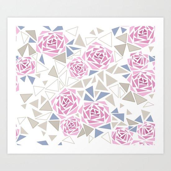 Modern . Geometric pattern . Roses . 1 Art Print