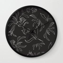 Hand Drawn Floral Wall Clock