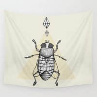 return Wall Tapestries featuring Return of the Fly by Tricia Robinson