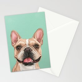 Cute and Happy French Bulldog Portrait, Frenchie Painting, Smiling Frenchie Art Stationery Cards