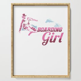 Snowboarding Girl Skiing Snowboards Skateboarding Gifts Serving Tray