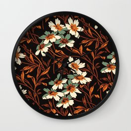 White gothic flowers Wall Clock