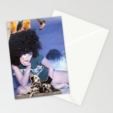 The girl with a bird's nest in her hair Stationery Cards