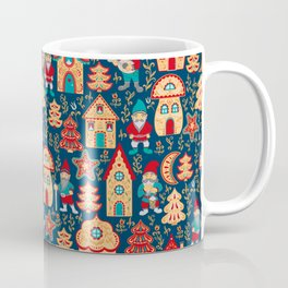 Fairy gnomes and magic houses.  Christmas trees, months and stars. Seamless Pattern in folk style. Coffee Mug