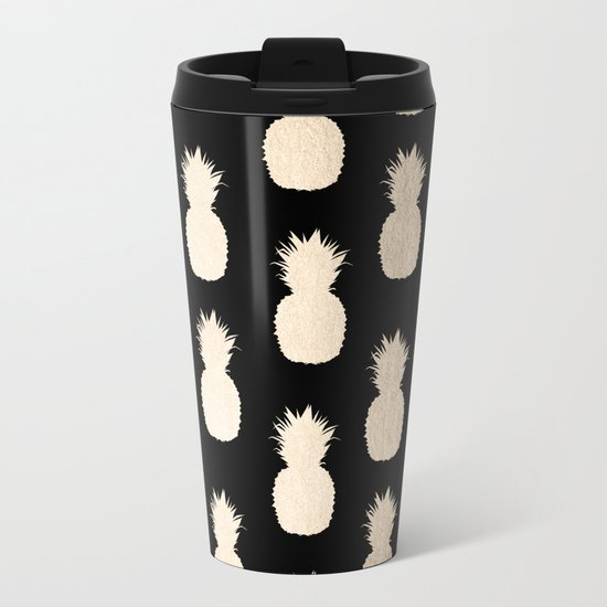 Gold Pineapples Pattern Black Metal Travel Mug