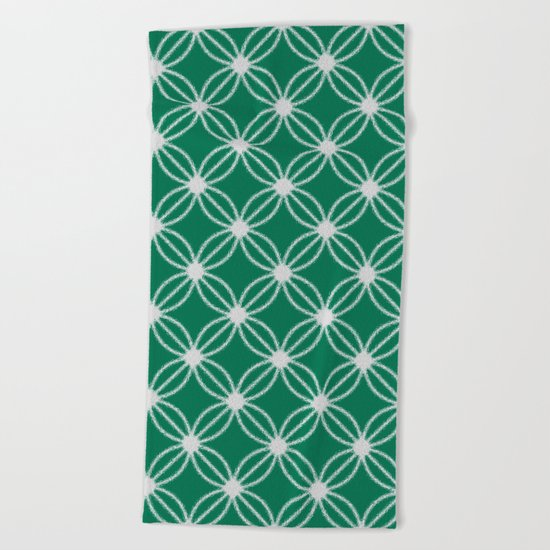 Abstract Circle Dots Green Beach Towel