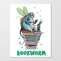 bookworm Canvas Prints featuring Bookworm by TheVioletWall
