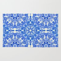 folk Area & Throw Rugs featuring Cobalt Blue & China White Folk Art Pattern by micklyn