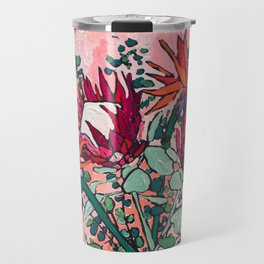 Cockatoo Vase on Painterly Pink Travel Mug