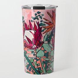 Cockatoo Vase on Painterly Pink Travel Mug