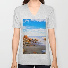 sandy beach with blue cloudy sky in summer Unisex V-Neck
