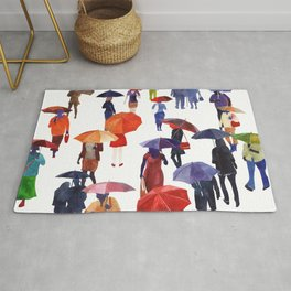 People with umbrellas Rug