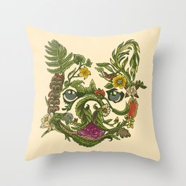 Botanical French Bulldog Throw Pillow