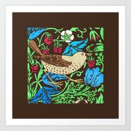 William Morris Bird & Flower Tile, Blue and Dark Brown Art Print