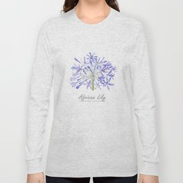blue purple African lily watercolor painting Long Sleeve T-shirt