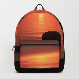 Peaceful Reflections of Nature at Dusk Backpack