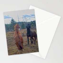 The Challenge - Ranch Horses Fighting Stationery Cards