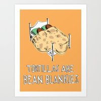 blankets Art Prints featuring Bean Blankets by Molly Adair