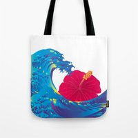 hokusai Tote Bags featuring Hokusai Rainbow & Hibiscus_R  by FACTORIE