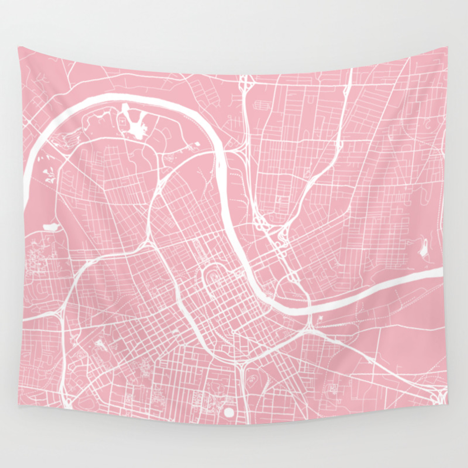Pink City Map Of Nashville Tennessee Wall Tapestry By Helloadventureco Society6