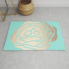 Rose in White Gold Sands on Tropical Sea Blue Rug