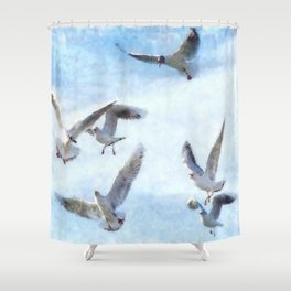 Gulls In Flight Watercolor Shower Curtain