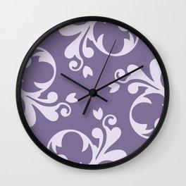 Royal Damask, Ornaments, Swirls - Purple White  Wall Clock
