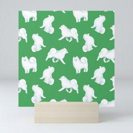 Samoyed Pattern (Green Background) Mini Art Print