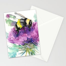 Bumblebee and Thistle Flower, honey bee floral Stationery Cards