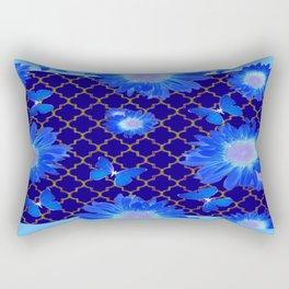 Decorative Blue Shades Flower Design Patterns Rectangular Pillow