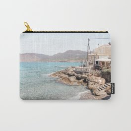 Beach Landscape In Greece Photo | Turquoise Blue Sea Art Print | Europe Travel Photography Carry-All Pouch