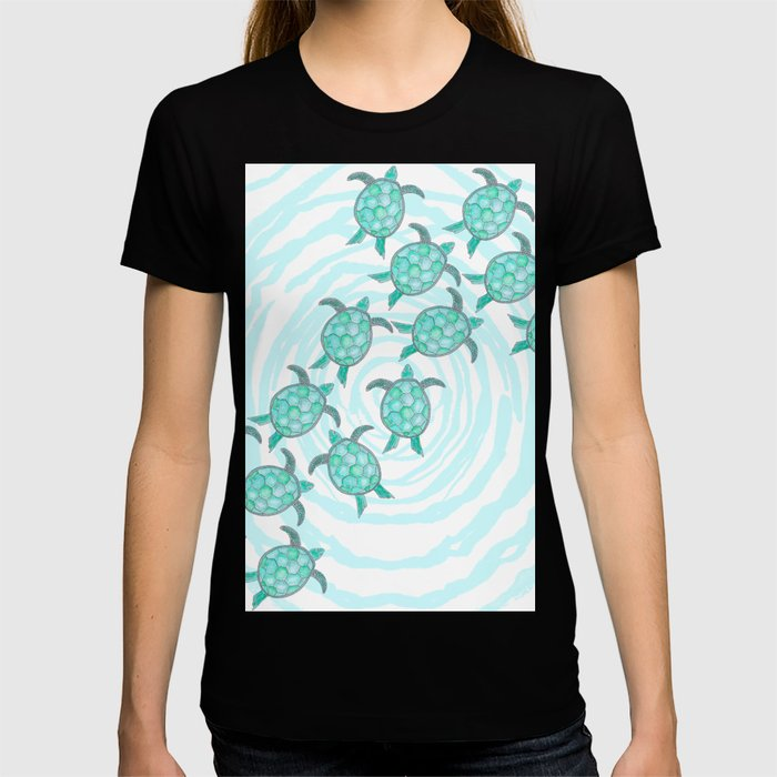 Watercolor Teal Sea Turtles on Swirly Stripes T-shirt