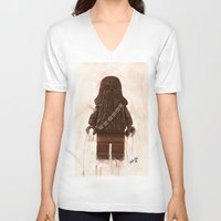 chewbacca V-neck T-shirts featuring Lego Chewbacca by Toys 'R' Art