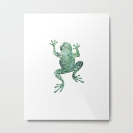 green lichen crawling frog silhouette Metal Print