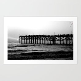 Crystal Pier at Sunset Art Print