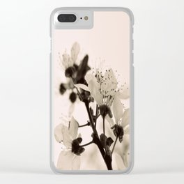 Blossoms Monochrome Clear iPhone Case