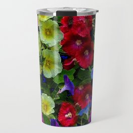 HOLLYHOCKS & MORNING GLORIES COTTAGE BLUE ART Travel Mug