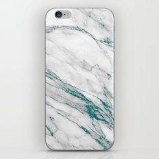 Grey Marble Aqua Teal Metallic Glitter Foil Style iPhone Skin