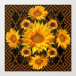 Chocolate Brown Patterns Yellow Sunflowers Abstract Art Canvas Print