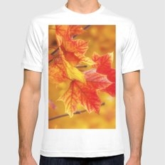 Colorful Leaves White Mens Fitted Tee MEDIUM